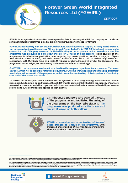 Info and Advisory Services Case Study - Forever Green World Integrated Resources Ltd